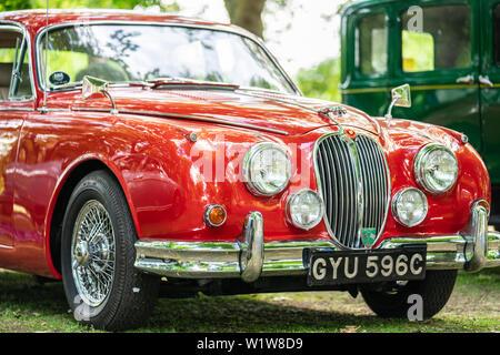 Bedford, Bedfordshire, UK June 2 2019 Fragment of Jaguar Mark 2 or XK 150 - Stock Photo