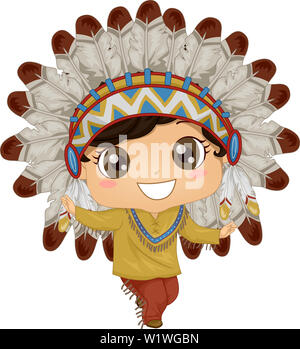 Illustration of Native American Kid Boy Dancing Wearing Chief Headdress - Stock Photo