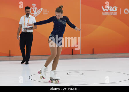 ALESSIA DONADELLI from Italy, performing in Junior Ladies Figures, she classified in 3rd position. WORLD ROLLER GAMES 2019, at Palau Sant Jordi, on July 02, 2019 Barcelona, Spain. Credit: Raniero Corbelletti/AFLO/Alamy Live News - Stock Photo