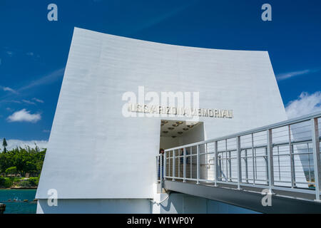 Arizona Memorial at Pearl Harbor, Hawaii. - Stock Photo