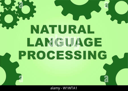 NATURAL LANGUAGE PROCESSING sign concept illustration with green gear wheel figures on pale green background - Stock Photo