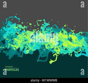 Array with dynamic emitted particles. Water splash imitation. Abstract background. Vector illustration. - Stock Photo