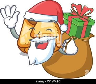 Santa with gift fusi istriani in the cartoon shape - Stock Photo