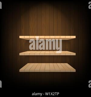 Brown shelves with soft light on wooden wall. Vector. - Stock Photo