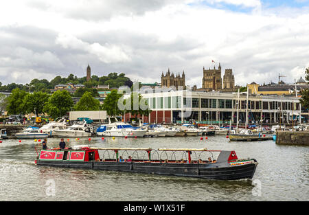 The Bristol Packet Redshank making its way along the Bristol Floating Harbour on a July day. - Stock Photo