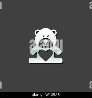 Teddy holding heart shape icon in metallic grey color style.Valentine love present - Stock Photo