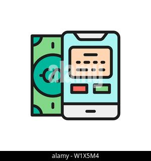 Vector payments methods, POS terminal, banking, credit card flat color line icon - Stock Photo