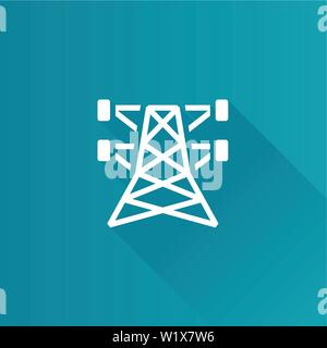 Pylon icon in Metro user interface color style. Electricity high voltage - Stock Photo