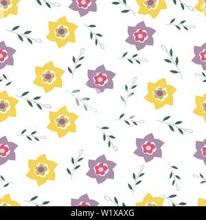 Seamless pattern of abstract branches and flowers on a white background. hand drawn vector - Stock Photo