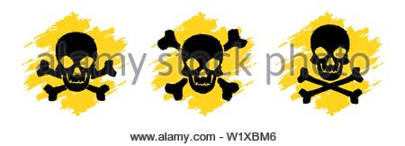 Toxic Hazard Grunge Symbols. Poison vector signs. Skull and crossbones signs. Danger vector signs isolated on white background - Stock Photo
