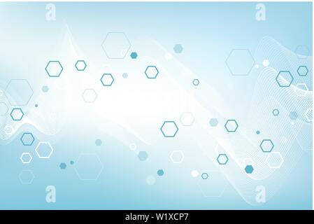 Scientific molecule background DNA double helix illustration with shallow depth of field. Mysterious wallpaper or banner with a DNA molecules - Stock Photo