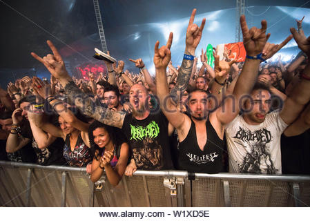 Hellfest, rock festival focusing on heavy metal music, in Clisson (north-western France). Atmosphere in the audience during a concert, festival 2014 - Stock Photo