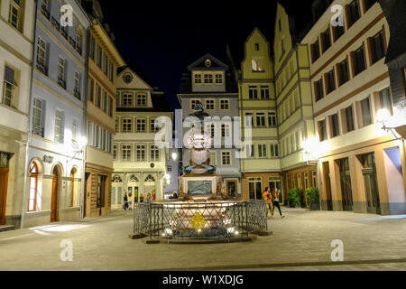 21.10.2018, Frankfurt am Main, Hesse, Germany - the rebuilt Huehnermarkt at night in the New Old Town, the DomRoemer quarter, from Frankfurt am Main, - Stock Photo