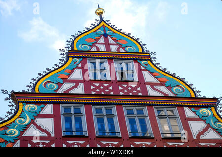 21.10.2018, Frankfurt am Main, Hesse, Germany - Frankfurt Cathedral, gable on the side facade of the reconstructed house to the golden scales on the s - Stock Photo