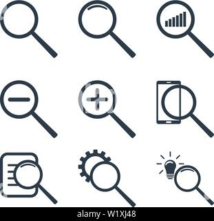 Set of different magnifier icons. Zoom, statistic, search information, find idea. Vector illustration isolated on white background. - Stock Photo