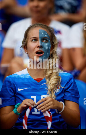 LYON, FRANCE - JULY 02: USA fan before the 2019 FIFA Women's World Cup France Semi Final match between England and USA at Stade de Lyon on July 2, 2019 in Lyon, France. (Photo by David Aliaga/MB Media) - Stock Photo