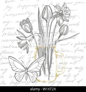 Tulips and Narcissus flowers bouquet isolated on white background. Set of drawing cornflowers, floral elements, hand drawn botanical illustration. Han - Stock Photo