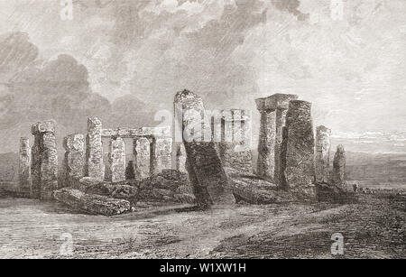 Stonehenge, Wiltshire, England, seen here in the 19th century.  From English Pictures, published 1890. - Stock Photo