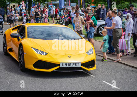 Bedford, Bedfordshire, UK. June 2, 2019. Fragment of yellow lamborghini - Stock Photo