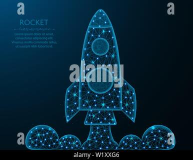 Low poly rocket design, shuttle launch in polygonal style, space ship vector illustration on blue background - Stock Photo