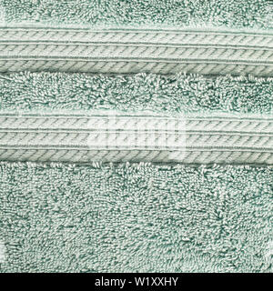 close up of soft cotton terry towel. white hotel towel. Spa towel collection - Stock Photo