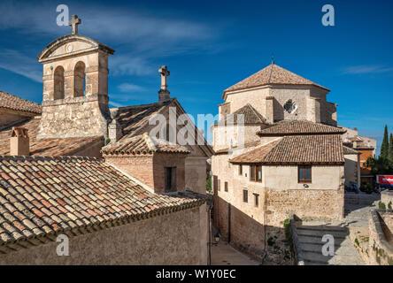 Convento de las Camelitas, Iglesia de San Pedro on right, view from Calle Trabuco in Old Town at Cuenca, Castile-La Mancha, Spain - Stock Photo
