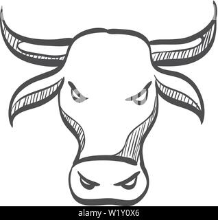 Bullish icon in doodle sketch lines. Finance, speculation, trend - Stock Photo