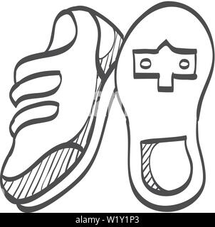 Cycling shoe icon in doodle sketch lines. Sport road race time trial foot pedal clip less cleat - Stock Photo