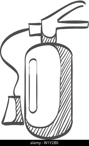 doodle sketch drawing of fire extinguisher Stock Vector Art