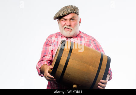 Fermentation product. Natural wine made out of organic grapes. Winery concept. Homemade wine. Producing wine family tradition. Man bearded senior carry wooden barrel for wine white background. - Stock Photo
