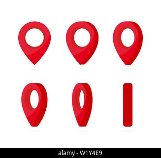 Set of vertical rotation red location marks. Map pointer 3d pin. Realistic location point symbol sprites for animation frames. Use in game development - Stock Photo