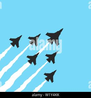 Military fighter jets on a blue background. Vector airplane show banner - Stock Photo
