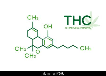 THC molecular formula. Tetrahydrocannabinol molecule structure on white background. - Stock Photo