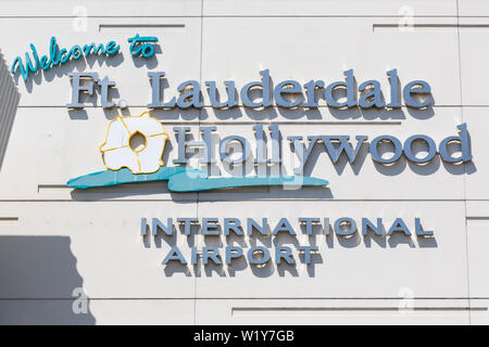 Fort Lauderdale, Florida – April 6, 2019: Logo of Fort Lauderdale airport (FLL) in the United States. - Stock Photo