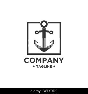 Anchor Logo Design Vector. Symbol of maritime icon or ocean business - Stock Photo