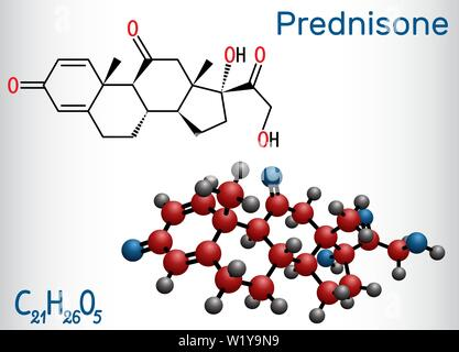 Prednisone molecule. A synthetic anti-inflammatory glucocorticoid derived from cortisone. Structural chemical formula and molecule model - Stock Photo