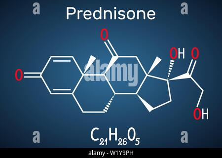 Prednisone molecule. A synthetic anti-inflammatory glucocorticoid derived from cortisone. Structural chemical formula on the dark blue background - Stock Photo
