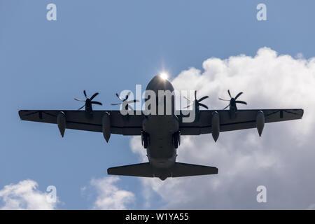 Sun reflection on the cockpit on this Lockheed MC-130J - Stock Photo