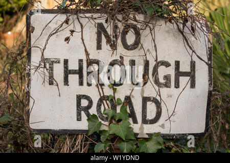 A 'No Through Road' sign on a post partially hidden partially hidden by ivy and other overgrowth - Stock Photo