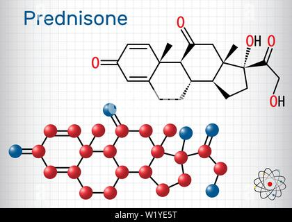 Prednisone molecule. A synthetic anti-inflammatory glucocorticoid derived from cortisone. Structural chemical formula and molecule model. Sheet of pap - Stock Photo