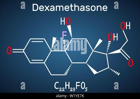 Dexamethasone molecule. This anti-inflammatory medication is a corticosteroid hormone glucocorticoid . Is used to treat arthritis, immune and hormone - Stock Photo