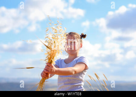 Happy little girl walking in golden wheat, holding spikes of wheat and ears of oats. Nature beauty, blue sky, white clouds and field of wheat. - Stock Photo