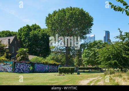 Allen Gardens, Buxton Street, near Spitalfields, East London UK, in summertime - Stock Photo