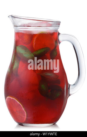 Strawberry basil lemonade in a glass pitcher, isolated - Stock Photo
