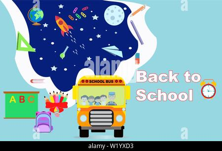 Vector banner poster back to school with happy students riding a school bus - Stock Photo