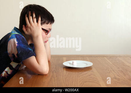 The Marshmallow Experiment - Child sitting at a table, patiently looking at a single marshmallow that is placed closely in front of the child's face - Stock Photo