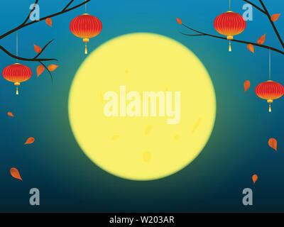 Autumn background in oriental style, with moon. - Stock Photo