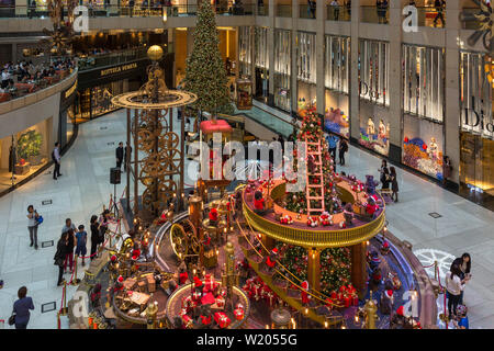 Christmas decorations inside Landmark shopping mall, Central, Hong Kong, SAR, China - Stock Photo