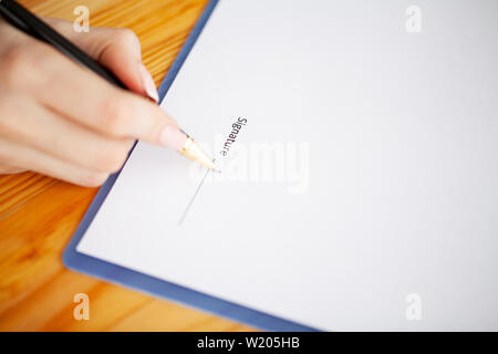 Customer signing contract, agreed terms and approved application and analyzing valuation home loan, meeting with bank worker or real estate agent - Stock Photo