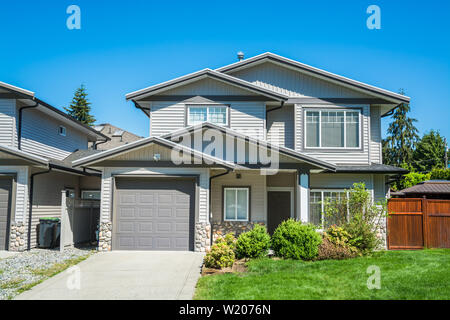 Brand new afordable family home, half duplex building. - Stock Photo